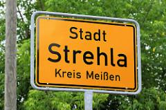Stadtschild, Ortschild Stadt Strehla, Kreis Meißen.