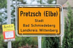 Ortsschild Pretzsch (Elbe), Stadt Bad Schmiedeberg - Landkreis Wittenberg.