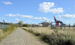 Blick über den Tankweg am Petroleumhafen in Hamburg Waltershof - Gebiet der Westerweitung des Hamburger Hafens: das Hafenbecken des Petroleumhafens soll verfüllt und so neue Lagerflächen für Container geschaffen werden.
