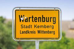 Ortsschild Wartenburg - Stadt Kemberg, Landkreis Wittenberg.