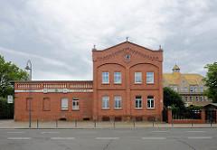 Historische Ziegelarchitektur in der Leipziger Str. von Dommitzsch / Nordsachsen.