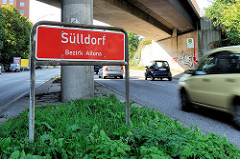 Ortsschild Sülldorf - Bezirk Altona; Fotografien aus den Hamburger Stadtteilen.