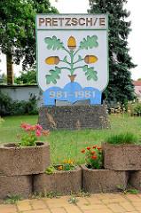 Wappen von Pretzsch / Elbe; unbekannte Bedeutung - eingeführt 1995.