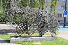 Kunst im öffentlichen Raum - Metallskulptur in Elbląg / Elbing.