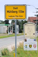 Stadtschild / Ortschild Stadt Mühlberg / Elbe, Landkreis Elbe-Elster.