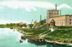 Altes Bild vom Hafen in Torgau / Elbe - Schiffe am Ufer; Backsteinarchitektur / historische Industriearchitektur