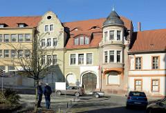 Historische Gründerzeitarchitektur - Jugendstilgebäude an der Lutherstraße in Mansfeld.