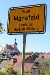 Ortsschild, Stadtschild Mansfeld, Landkreis Mansfeld-Südharz.