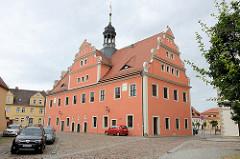 Rückseite vom Rathaus in Belgern; errichtet 1578 als Renaissancebau.