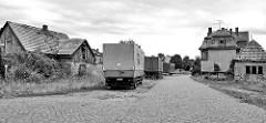 Gewerbegebiet - verlassene Gebäude beim Bahnhof Belgern; die Bahnstrecke wurde 1962 stillgelegt.