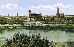 Historische Ansicht von Thorn an der Weichsel - Altstadt mit Kirchen.