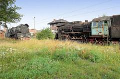 Alte Dampfloks auf dem Bahnbetriebsgelände von Toruń - lks. die PKP Dampflok Ol 49-50, re. die Lokomotive Ol 49-3.