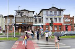 Geschäftshäuser, Wohngebäude in der Straße Grudziądzka von Toruń.