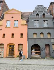 Ulica Browarna in Toruń - historsche Architektektur, Mietshäuser - restauriert, aber Leerstand.
