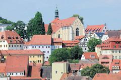 Blick über die Dächer von Meißen zur Kirche St. Afra;  Pfarrkirche / Klosterkirche - Ursprungsgebäude von 1205, Umbauten im 15. Jahrhundert.