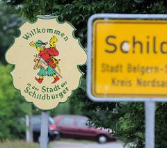 Ortssschild Schildau, Stadt Belgern-Schildau, Kreis Nordsachsen - Willkommen in der Stadt der Schildbürger.