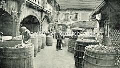 Alte Fotografie -  Hof der Weinstube Vincent Richter in Meißen - Weinernte, Holzfässer mit Weintrauben.