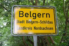 Ortsschild von Belgern; Stadt Belgern-Schildau, Landkreis Nordsachsen.