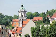 Kirchturm der Frauenkirche in Meißen; Kirche am Markt - Ursprungsgebäude aus dem 13. Jahrhundert, Umbau / Veränderung in der Zeit der Spätgotik.