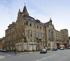 Gründerzeitarchitektur an der Dresdner Straße in Meißen; HO Gaststätte und Hotel Hamburger Hof - seit 1990 leerstehendes Gebäude. 1896 eröffnet - Architekt  Bruno Seitler.