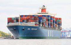 Das 2002 erbaute Containerschiff MOL PRECISION läuft aus dem Hamburger Hafen aus - im Hintergrund die Containerbrücken des Terminal am Burchardkai. Der Frachter MOL PRECISION kann bei einer Tragfähigkeit von 73063 t und einer Länge von 293m 6350