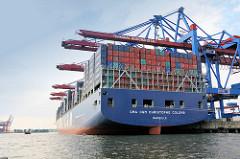 Heck des Containerschiffs Christophe Colomb im Hamburger Hafen / Terminal Burchardkai.