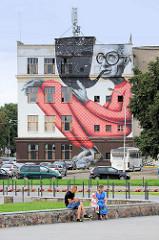 Wandbild - Hausfassade in Kaunas.