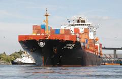 Das 2008 gebaute Containerschiff SCI MUMBAI hat eine Länge von 264 und kann 4400 Standardcontainer TEU an Ladung transportieren.