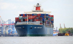 Das 2002 erbaute Containerschf MOL PRECISION läuft aus dem Hamburger Hafen aus - im Hintergrund die Containerbrücken des Terminal am Burchardkai. Der Frachter MOL PRECISION kann bei einer Tragfähigkeit von 73063 t und einer Länge von 293m 6350 Co