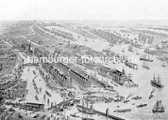 Historische Luftaufnahme der Hamburger Speicherstadt - lks im Vordergrund der Binnenhafen +  Zollkanal, re. das Kehrwiederfleet, Sandtorhafen / Grasbrookhafen. Rechts oben der Segelschiffhafen und der Hansahafen, dahinter der Moldauhafen.