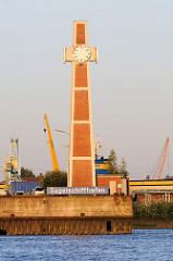 Pegelturm / Signalturm am Amerikahöft, Segelschiffhafen in Hamburg - altes Namensschild vom Hafenbecken - Architektur der 1960er Jahre