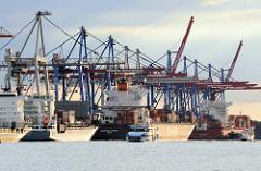 Blick zu den Containerbrücken am HHLA Terminal Burchardkai. Der die Liegeplätze am Hafenkai sind alle belegt.