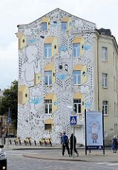 Streetart in Vilnius - Fassadenbild, Wandbild.