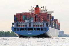 Heckansicht des Frachtschiffs MOL MATRIX auf der Elbe bei Hamburg Neumühlen.