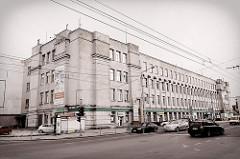 Klinikgebäude - sowjetische Architektur in der Straße Savanorių in Kaunas, Litauen.