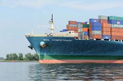Schiffsbug des Containerfrachters MOL COMPETENCE mit der Ladung Container an Deck - der Frachter kann 8110 20ft. Container transportieren.