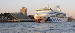 Das Kreuzfahrtschiff AIDA AURA verlaesst in der Abendsonne den Hamburger Hafen. Das 203m lange und 28m breite Passagierschiff befindet sich Höhe Hamburg Neumühlen. Am Ufer der Elbe die moderne Architektur des Bürogebäude Dockland.