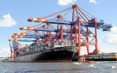 Der 2007 gebaute Containerfrachter HANJIN PORT KELANG kann bei einer Länge von 304m und einer Breite von 40m 6655 TEU Standardcontainer aufnehmen. Der 26,5 kn schnelle Frachter liegt unter den Containerbrücken der EUROGATE Terminals. Ein Arbeitsb