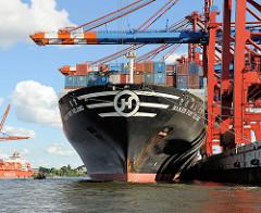 Bug des Cargoschiffs HANJIN PORT KELANG im Hamburger Hafen. Die Ladung Container des 304m langen Frachters wird über die Containerbrücken des Terminals EUROGATE gelöscht. Mit dicken Schiffstauen ist der Bug des 207 gebauten Frachters am Kai vertä