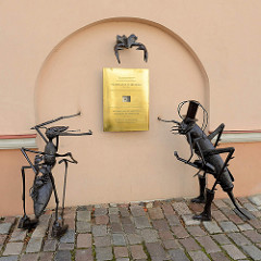 Gedenkplakette für Vladislavas Starevičius - Pionier der Zeichentrickanimation, arbeitete in Kaunas.