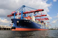 Die CMA CGM MUSCA unter den Containerbrücken des HHLA Container Terminal Burchardkai. Das 2009 gebaute Containerschiff hat eine Länge von 346m un kann 10980 Container an Bord nehmen.