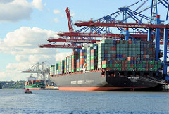 Hafenfotos aus Hamburg - Container Cargo Ship ZIM TIANJIN am Burchardkai.
