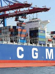 Fotos von der Arbeit im Hamburger Hafen - löschen der Containerladung der CALLISTO am Burchardkai; das 363 m lange und 45m breite Containerschiff kann ca. 11400 TEU transportieren und hat einen Tiefgang von 15m.