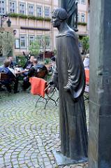 Denkmal für Thomas Müntzer am Markt von Stolberg / Harz - Geburtsort des Reformators und Bauernführers. Aufgestellt 1989 zum 500. Geburtstag -  Künstler Klaus Messerschmidt.