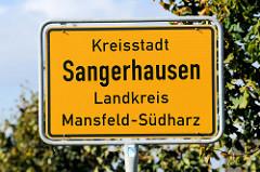 Ortsschild Kreisstadt Sangerhausen / Landkreis Mansfeld-Südharz.