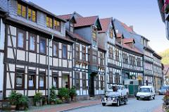 Wohnhäuser - Fachwerkgebäude in der Niederngasse von Stolberg / Harz.