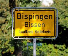 Ortsschild von Bispingen / Bissen - Landkreis Heidekreis.