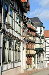 Historische Fachwerkfassaden - Wohnhäuser am Markt in Stolberg / Harz.