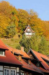 Herbstwald im Harz - bunte Herbstbäume in Stolberg - Holzhaus im Wald.