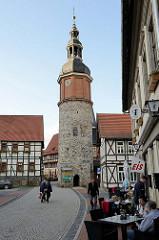 Saigerturm in Stolberg / Harz; frühgotisches Wahrzeichen der Stadt aus dem 13. Jahrhundert. Aus Bruchsteinen errichtet, Teil der historischen Befestigungsanlage.